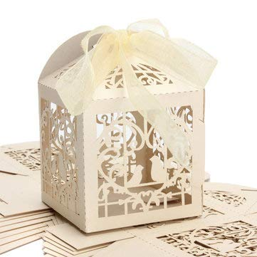 Gift Packaging Supplies Gift Boxes - 10pcs Pierced Birdcage Candy Sweet Package Gift Box Wedding Party Cake Chocolate Box - Beige -