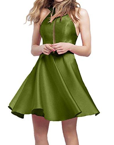 Damen Satin Neu Tanzekleider Heimkehr A Charmant Kurzes Olive Gruen 2018 linie Cocktailkleider Abendkleider Mini Hdq4ApWT