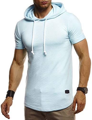 Leif Nelson Herren Sommer T-Shirt mit Kapuze Slim Fit Baumwolle-Anteil Cooles weißes schwarzes Basic Männer T-Shirt Kapuzenshirt Jungen Kurzarmshirt Kurzarm Sleeve Top Lang LN8317
