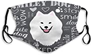 Mouth Mask Breathable Reusable Outdoor Mouth Mask White Samoyed Dog Sports Shield