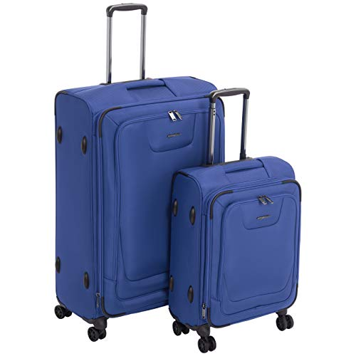 - AmazonBasics 2 Piece Expandable Softside Spinner Luggage Suitcase With TSA Lock And Wheels Set - Blue