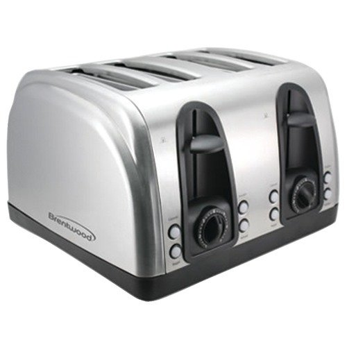 Brentwood Appliances TS-445S 4-Slice Toaster with Extra Functions, Stainless Steel