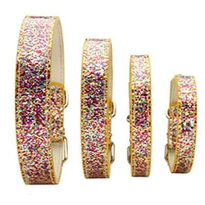 Collars Wholesale Cat - Gold Happy Colorful Shiny Rhinestone Glitter PU Leather Dogs Collar Bling Pet Collar for Puppy Cat Small Dog Choker Necklaces Accessories