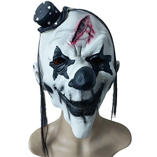 Masks Halloween Christmas Funny Dress Up Black and White Clown Grimace Horror Latex Headgear Masquerade Show Props Toys & Games (Color : White, Size : 27CM/11inch) for $<!--$63.30-->