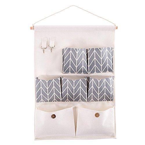 Shiaon Wall Hanging Closet Organizer 7 Pockets Multipurpose Door Storage Bag with 2 Hooks - Space Saver Storage Case Linen Cotton Fabric Grey