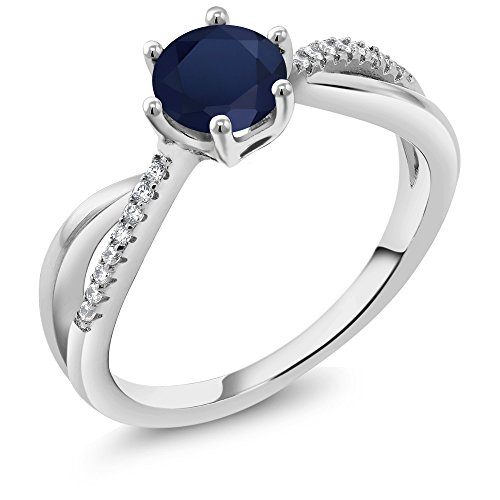 Promise Sapphire Ring (925 Sterling Silver Blue Sapphire Infinity Ring (1.19 Ct Round, Gemstone Birthstone Available in size 5, 6, 7, 8, 9))