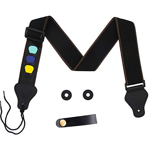 Guitar Strap 100% Soft Cotton with 3 Pick Holders Strap, 1 Pair Strap Locks and Button Headstock Adaptor (Black)