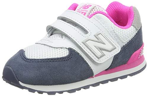 New Balance Girls' Iconic 574 V1 Hook and Loop Running Shoe, Vintage IndigoPeony, 8 M US Toddler