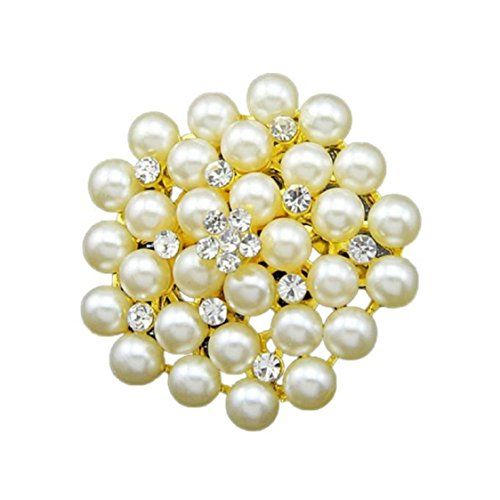 Ikevan Hot Selling Women Hot New Large Fashion Drop Pendant Wedding Lady Rhinestone Brooch (Gold)