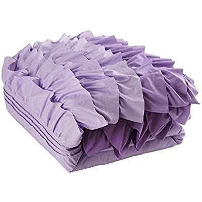 Cassiel Home Christmas Duvet Cover Queen, Purple Duvet Cover Set for Girls Boys Super Soft 3 pcs Waterfall Ruffle Bedding Cover Set Pinched Pleat Comforter Cover Sets for Teen Kids (Lavender, Queen): Home & Kitchen
