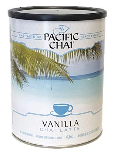 Pacific Chai Vanilla Instant Powdered Chai mix, 48oz canister ( Packaging may vary )
