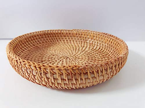Woven Storage Basket Wicker Basket Woven Storage Baskets Wicker Storage Baskets Wood Basket Rattan Basket Wood Desk Organizer 100% Handwoven Flat Rattan Basket Hamper Basket Small (Woven basekt)