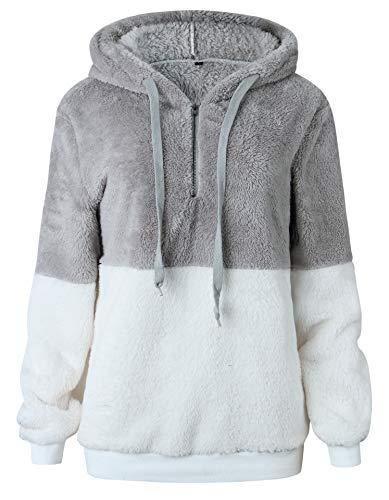 BTFBM Women Hooded Fleece Jacket Pullover Long Sleeve Zip Hoodie Sweatshirt Coat Outwear