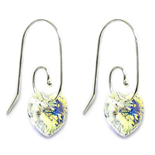 Silver Heart Hook (Clear Aurora Borealis AB Swarovski Elements Crystal Love Heart Sterling Silver Swirl Hook Dangle Earrings)