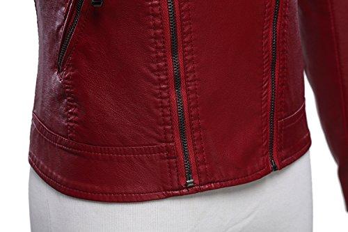 Tanming Women's Faux Leather Collar Moto Biker Short Coat Jacket (Medium, W-Red6) by Tanming (Image #5)