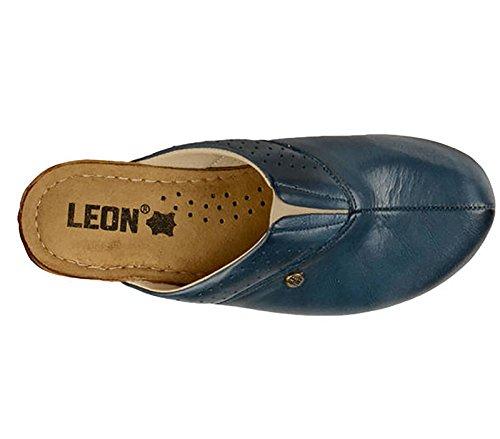 LEON 1002 Zoccoli Sabot Pantofole Scarpe Pelle Donna, Blu, EU 40