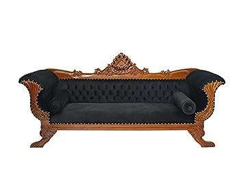 1195 Sofa Couch Schlafsofa im antiken Stil Massivholz mit schwarzer Polsterung