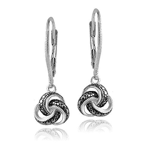 Sterling Silver Black Simulated Diamond Accent Love Knot Dangle Leverback Earrings ()
