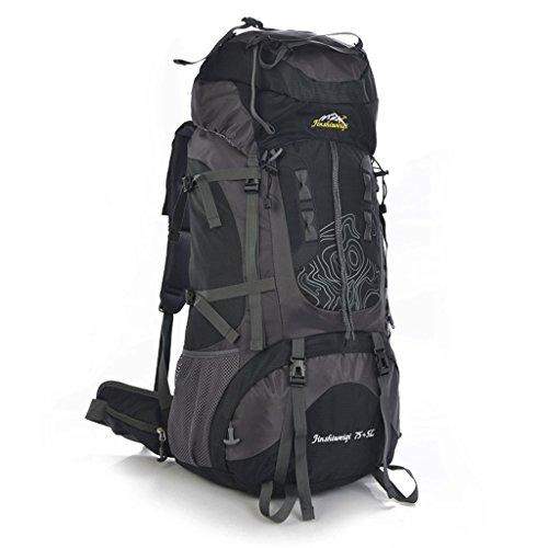 Lo nuevo 80L al aire libre profesional del bolso del alpinismo hombres y mujeres mochila bandolera mochila bolsa de gran capacidad negro