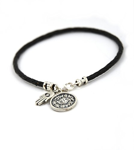 Evil Eye Protection Solomon Seal Braided Leather Bracelet with Hamsa Charm