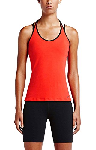 Nike Performance Get Fit Lux Training Tank,Red/Black,L ()