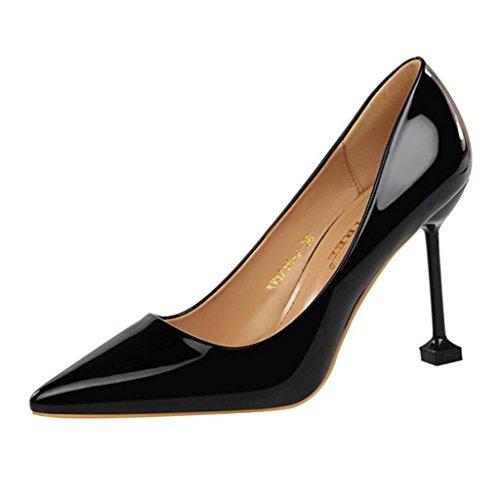 Binying Damen Spitze-Zehe Stiletto ohne Verschluss Pumps Schwarz