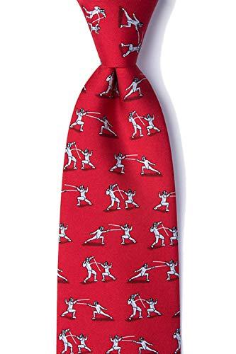 Alynn Ties Red Silk Novelty (Men's 100% Silk Red En Garde Fencing Novelty Tie Necktie)