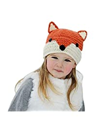 Easytop Winter Kids Warm Fox Animal Hats Knitted Coif Hood Scarf Beanies for Autumn Winter