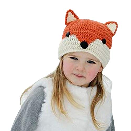 54b1f671d17 Easytop Winter Kids Warm Fox Animal Hats Knitted Coif Hood Scarf Beanies  for Autumn Winter