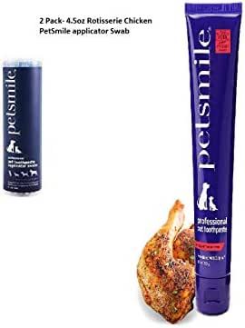 Petsmile Professional Dog Toothpaste - 4.5oz Rotisserie Chicken Flavored Paste and Applicator swabs Included- Combo Pack