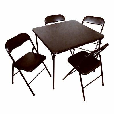 PLASTIC DEVELOPMENT GROUP 819 5 Piece Black Table & Chair Set