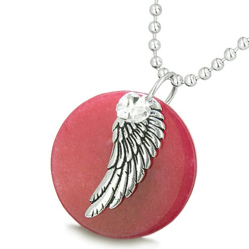 (Angel Wing Cherry Red Quartz Medallion White Crystals Heart Feather 22 Inch Pendant Necklace)