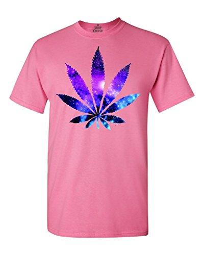 - Shop4Ever Marijuana Leaf Galaxy T-Shirt Weed Smoker Shirts Small Azalea Pink 61637