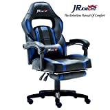 JR Knight LC-04BKBL Ergonomic Gaming Chair With Footrest, Proffessional Gamer Design Home Office Computer Executive Swivel Racing Chair, PU Leather Padding Desk Chair With Recliner (Style 1)