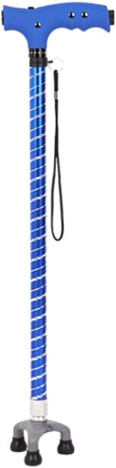 TWL LTD Bastón de Luz Led de Aluminio con Férula de Goma Bastón Azul Ajustable
