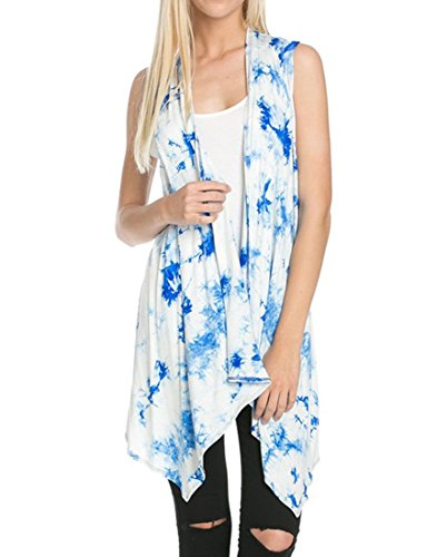 Women's Solid Color Sleeveless Asymetric Hem Open Front Cardigan -Made in USA (X-Large, White Blue Tie Dye)