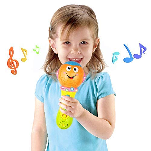 Cyiecw Microphone Toy for 3-24 Months Baby Boy Girl Kids Learning Education Toy with 16 Music Modes (Orange)