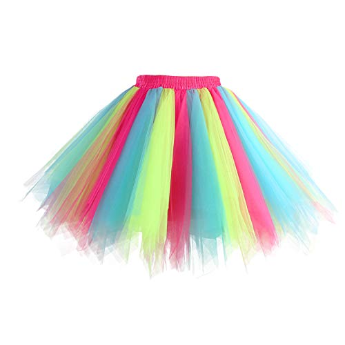 Hanpceirs Women 1950s Short Vintage Tulle Petticoat Skirt Ballet Bubble Tutu Rainbow M