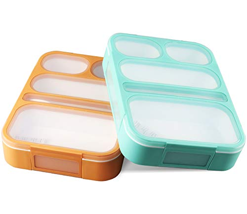 Leakproof Bento Lunch Box Set With 5 Compartments | 2 Food Prep & Meal Planning Containers For Kids And Adults | BPA Free & FDA Approved | Microwave, Dishwasher and Freezer Safe By PlusPoint (Best Bento Lunch Box For Kids)