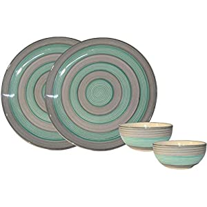First Choice Gallery Handmade and Handprinted Ceramic Green & Grey Plate(10.3 inch Diameter) with Free Dinner Dining…