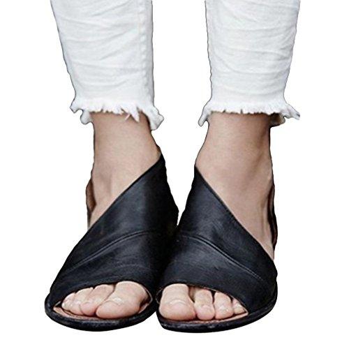 Sandals Summer Women Fish Black Sandals Mouth Shoes Heel Open Roman Wedge Toe vd1rq