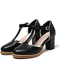Fashion T Strap Womens Platform Low Chunky Heel Pumps Sandals Mary Jane Shoes