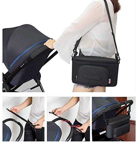 Large Buggy Pram Bag with 2 Cup Holders and Tissue Pocket, Pushchair Stroller Organiser for Mom Travel, Plus 2 Pram Hooks &1 Shoulder Strap