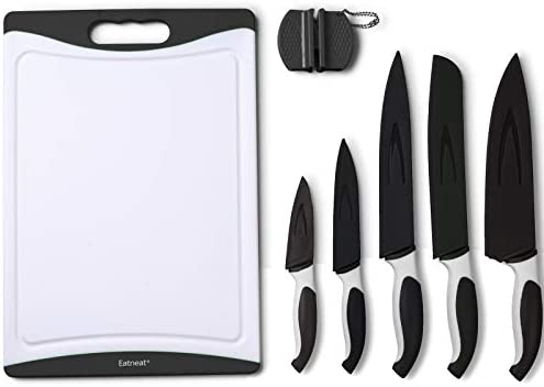 EatNeat 12-Piece Black Sharp Knife Set: 5 Stainless Steel Kitchen Knives  with Covers, Cutting Board and Sharpener