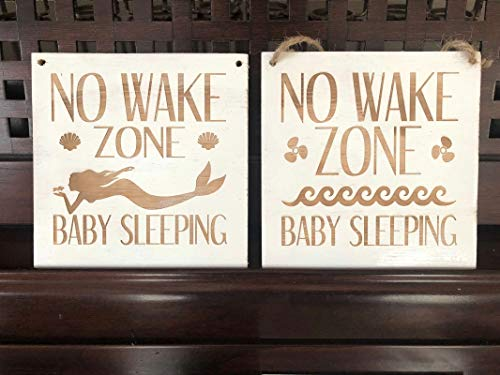 (Adonis554Dan NO Wake Zone Baby Sleeping Printed Plaque Sign Door Hanger Wooden Nautical Princess Do Not Knock or Ring The Bell U Pick Color)