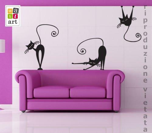 00223 adesivi murali ''gatti 2''   stickers adesivi   50x70 cm ...