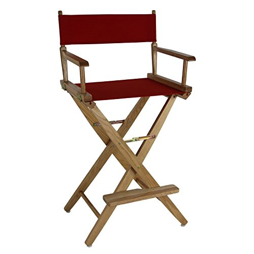 Extra-Wide Premium 30 in. American Oak Bar Height Directors Chair