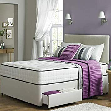Enzo Divan Fabric Bed with Orthopaedic Spring Memory Foam Mattress /& Included Free Frankfurt /& Co Headboard and 2 Side Drawers 3FT-Single