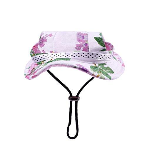 WINOMO Round Brim Pet Cap Visor Hat Pet Dog Mesh Porous Sun Cap with Ear Holes for Small Dogs - Size M (Floral Print)
