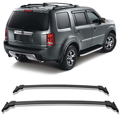 Cross Bars Fits 2009-2015 HONDA PILOT | OEM Style Aluminum Black Roof Top Bar Luggage Carrier by IKON MOTORSPORTS | 2010 2011 2012 2013 2014